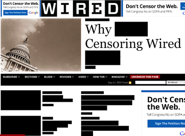 Wired, with its front-page content blacked out
