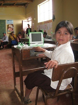 Peruvian student with laptop