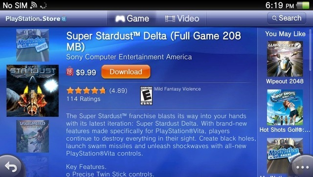 The easy-to-navigate PlayStation Store, as seen on the Vita