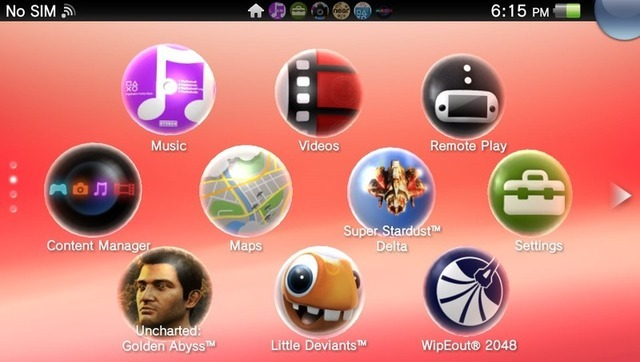 The top screen of the Vita main menu. Flicking up and down accesses more pages of apps, while flicking left and right accesses currently running apps