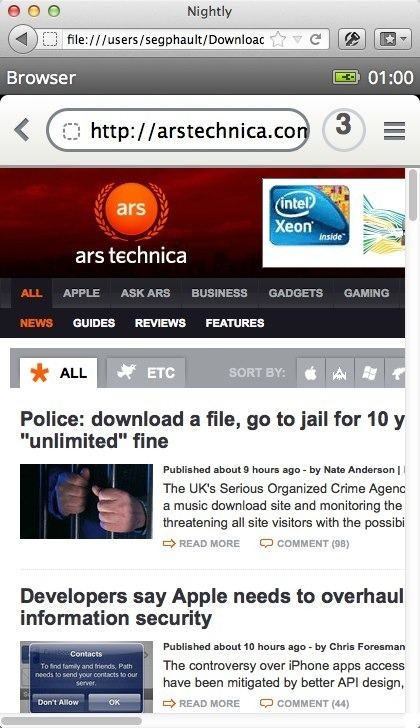 B2G's Web browser. It's practically begging for a Yo Dawg joke