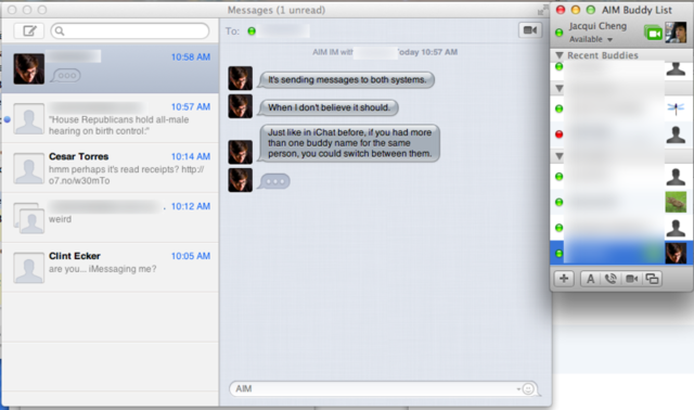 The old iChat buddy list is still there if you want to use it, but it doesn't quite match the rest of the Messages app