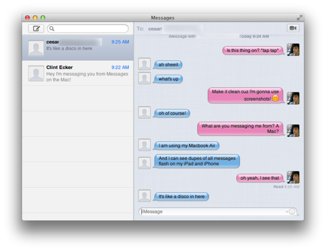 A conversation I had using Messages on the Mac