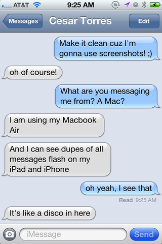 That same conversation is reflected on my iPhone since I used my Apple ID on both devices for iMessage