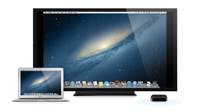 AirPlay Mirroring sends a 720p stream of your desktop to any Apple TV.