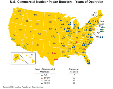 Map of the 104 currently operating nuclear reactors in the United States.
