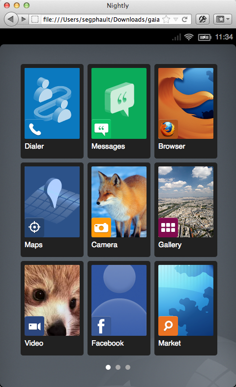 The new default B2G home screen