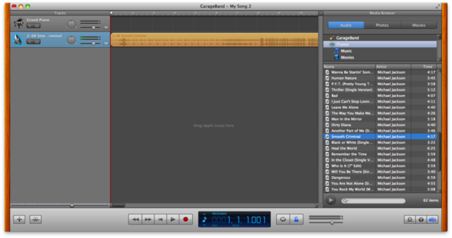 """I've brought in Michael Jackson's """"Smooth Criminal"""" as a track in GarageBand"""