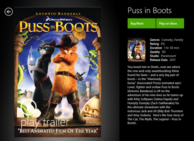 You can, apparently, watch Puss in Boots on PC or Xbox