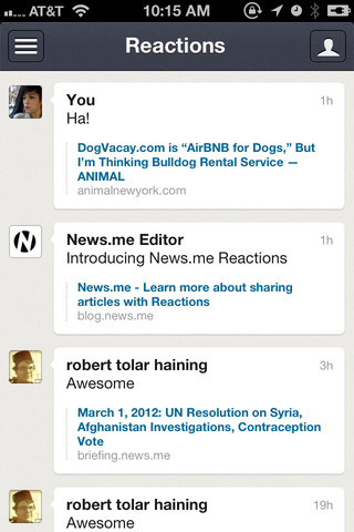 I only have one contact on News.me so far, so my Reactions list is quite limited