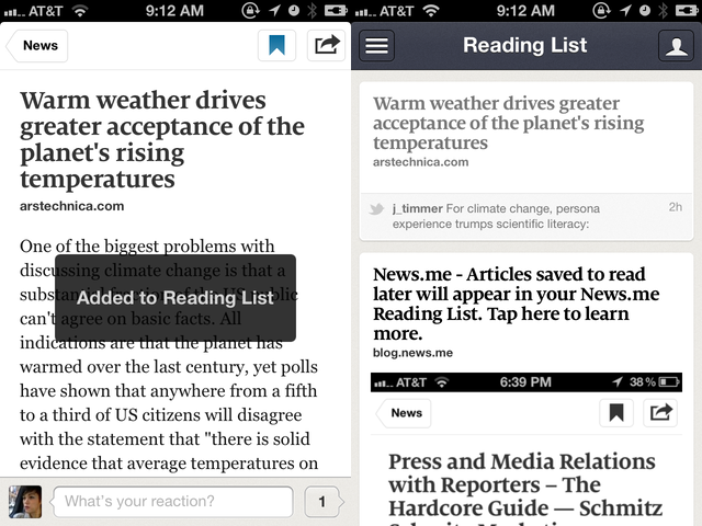 Like Instapaper and services like it, you can save stories to read later. On the upside, you can sync them back to Instapaper. Yay!
