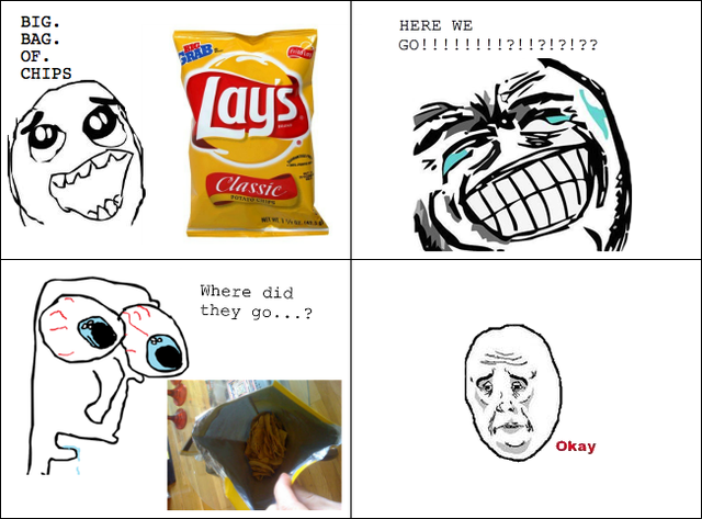 """The """"Okay"""" face in action, used to express Reddit user annaclair's disappointment over an undersupply of Lays potato chips."""