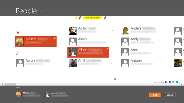 This can open in either multiselect mode (as shown here) or single select mode (used for, say, Messaging).
