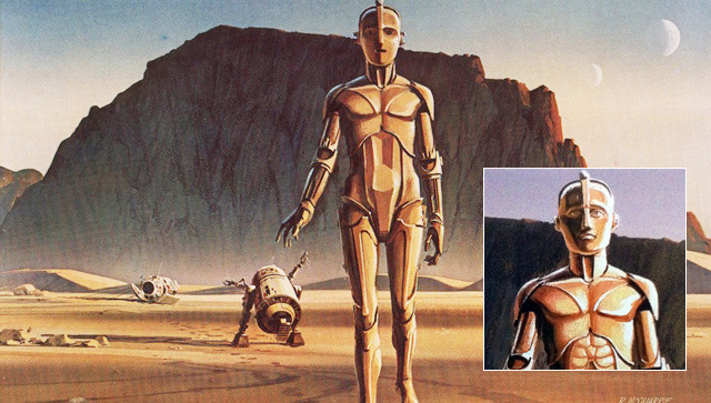 C3P0, as seen before and after revisions to face and torso.