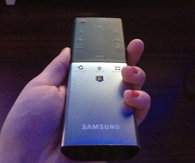 The smart touch remote control Samsung has made for use with the ES8000.