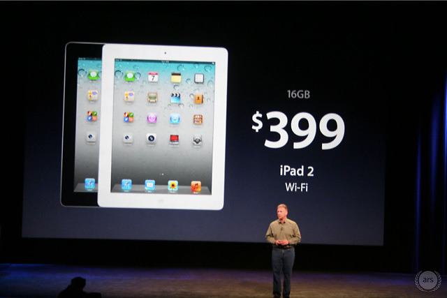 Apple announced that a 16GB iPad 2 will remain in the lineup with a lower $399 entry price. (3G + WiFi is now $529.)