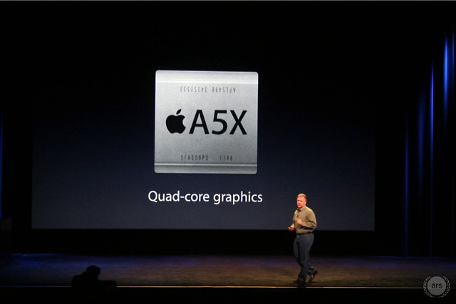 "The iPad 3's processor is an updated A5 with a quad-core GPU dubbed the ""A5X."""