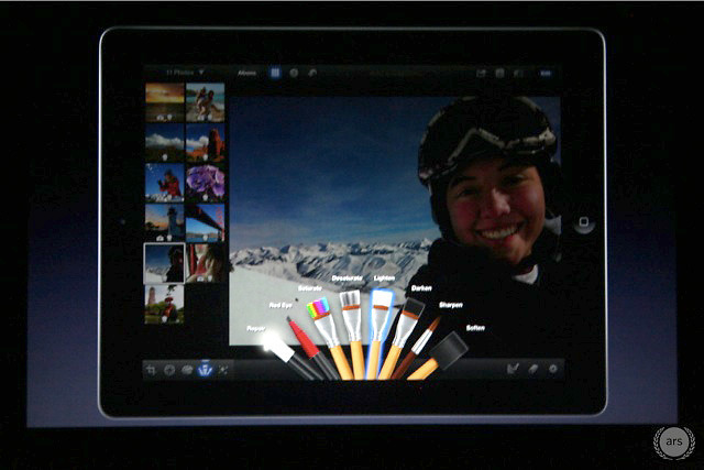 iPhoto for iOS includes new touch-based editing tools.