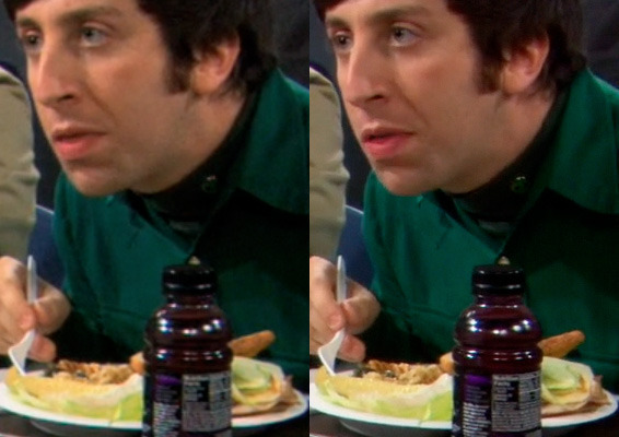 Comparing one episode of <em>The Big Bang Theory,</em> quality and detail between the 720p version (left) and 1080p version (right) is visibly better in some scenes, despite increased compression.