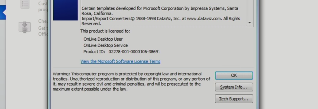 "Microsoft Word for iPad, licensed to ""OnLive Desktop User"" … or perhaps not"