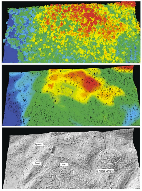These three images illustrate three ways scientists can visualize LiDAR information. The top image is unfiltered LiDAR feedback, the second is filtered to show ground surface and prehistoric features, and the last is filtered even more to show ancient structures that remain.