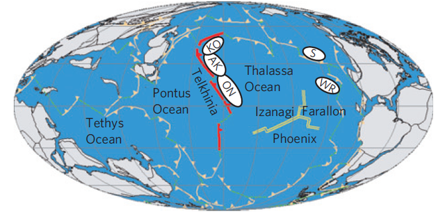 Map of the Panthalassa Ocean about 200 million years ago. The white ovals show the reconstructed locations of volcanic arcs known from continental rocks.