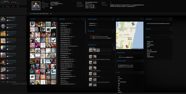 A screen capture from Stalker, an application developed by Mark Wuergler.