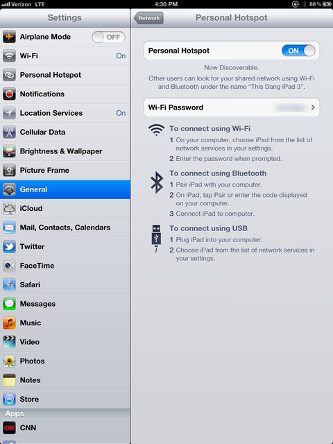 If your iPad supports hotspot capabilities (currently Verizon only), you can share your cellular data connection with other devices