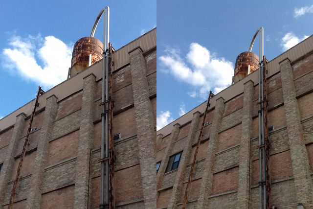A water tower atop a commercial building in mixed daylight and shadow. Left: iPad 2, right: iPad 3.