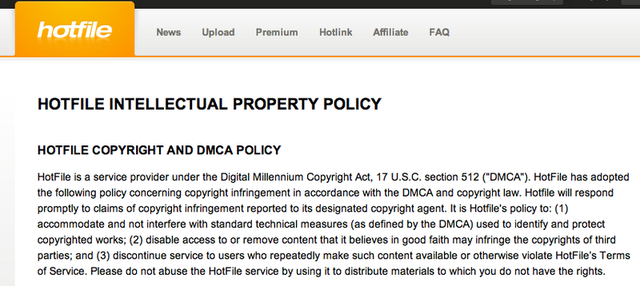 Hotfile's warning to users about uploading copyrighted files