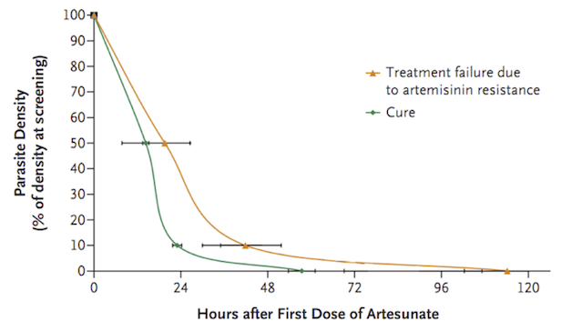 Slow parasite clearance times—artemisinin resistance—found in a study of Cambodian patients