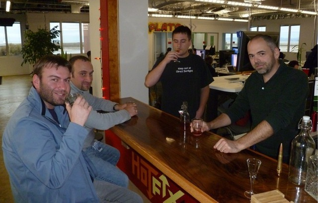 Facebook's release engineering team celebrating a successful update