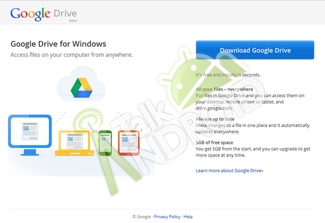 Purported leaked screenshot of Google Drive download page