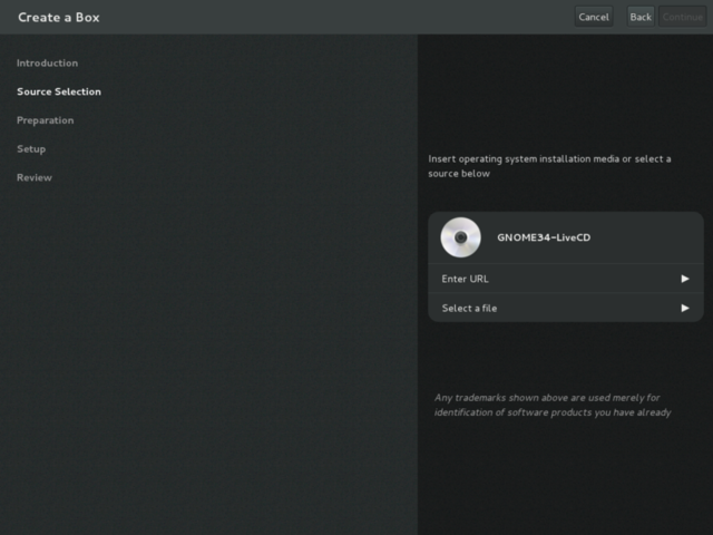 GNOME's new Boxes virtualization management tool.