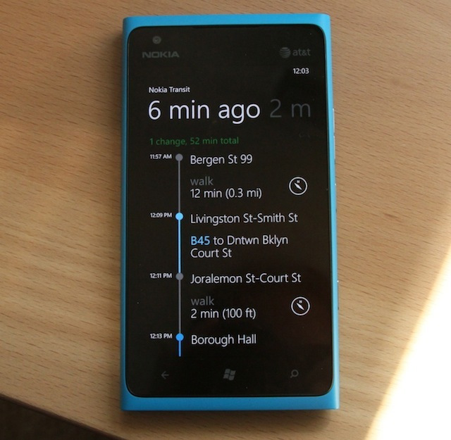 The process for one journey in Nokia Transit