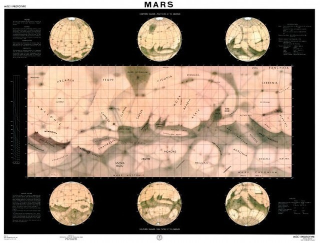 Map of Mars from August 1960 based on observations using Earth-based telescopes. At the time Avco/RAD engineers performed their study, this was the best all-planet Mars map available.