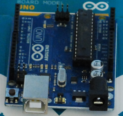 A close-up of the Arduino board