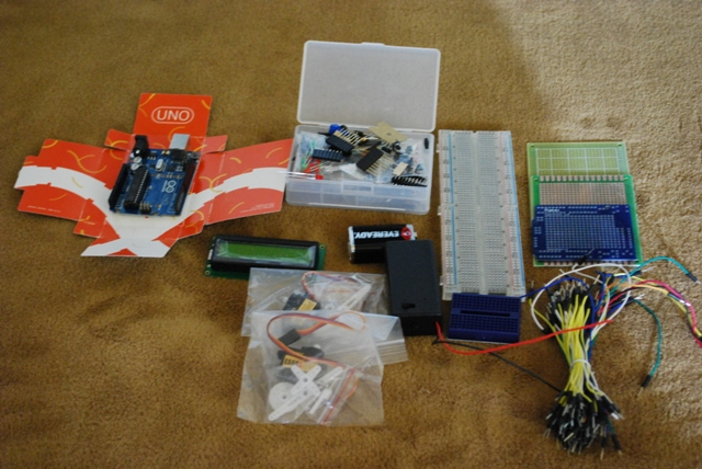 The MakerSHED Kit contents and Arduino controller board