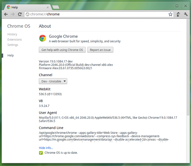 Adjusting the Chrome OS update channel.