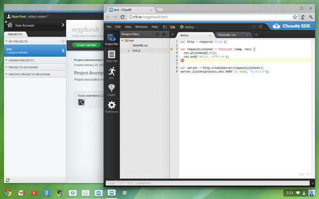 Using Cloud 9 on Chrome OS.