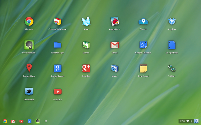 The new Chrome OS application drawer.