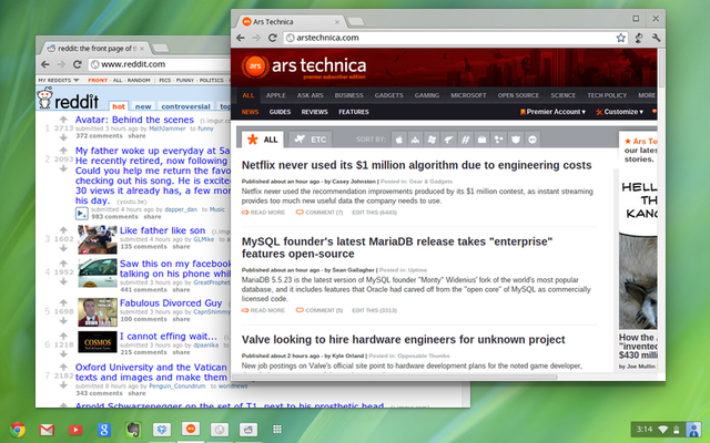 Overlapping windows on the Chrome OS desktop.