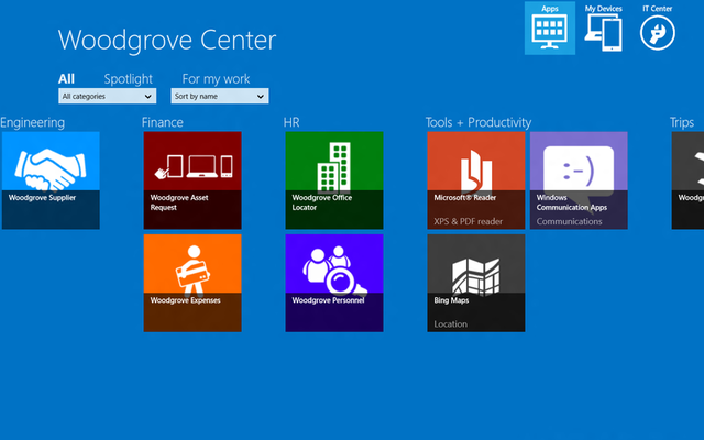 The self-service portal (SSP) application for Windows 8 for ARM allows users to pick and choose which corporate line-of-business applications they download and install to their own device.