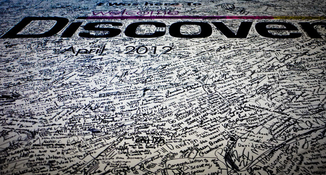 Signed, sealed, delivered. Thousands of visitors signed their name to a commemorative banner welcoming Discovery to the Smithsonian's National Air and Space Museum.