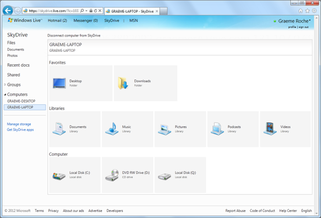 After authorizing via SMS, you can use any computer to browse the disks of any computer running the SkyDrive client app.