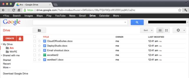 The Google Drive Web client