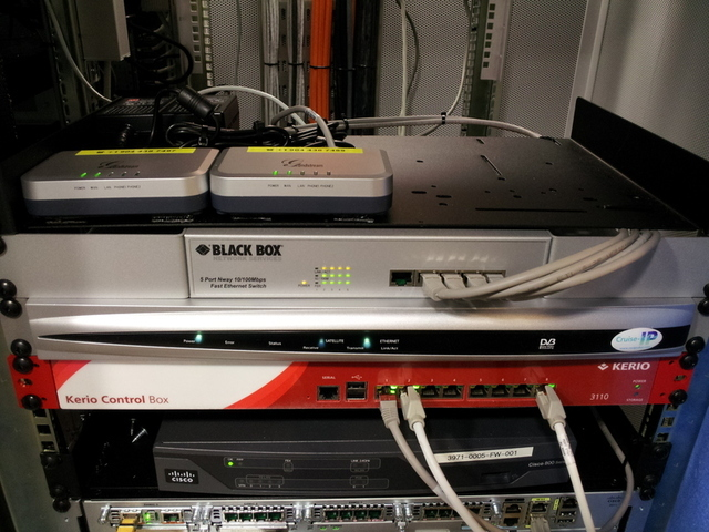 The network rack of a YachtComputing customer's at-sea LAN.