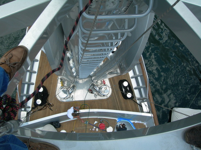 Looking down from the VSAT dome of the sailing yacht Maltese Falcon.