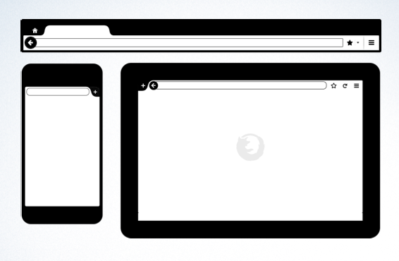 A wireframe showing how Firefox's curved contour translates across form factors.