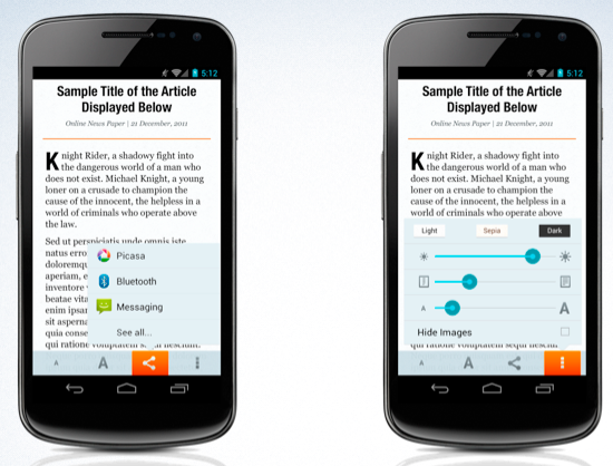 Firefox Mobile's reading mode and sharing feature.
